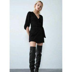 Zara Womens Faux Suede Romper Jumpsuit Dress XS